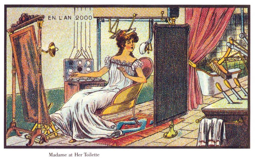 婦人用著化妝刷機器打理門面